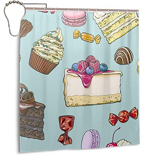 Kuchen Candy Duschvorhang mit Haken Robuste wasserdichte Badvorhänge, Badezimmer Dekor Set, 168 x 183 cm