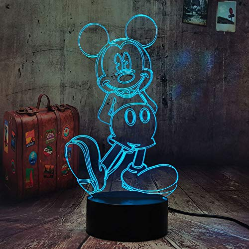 Creativa lámpara de noche LED con ilusión óptica 3D de Mickey Mouse, para niños, cumpleaños, Navidad, juguete para bebés, lámpara de noche para dormitorio, solución de decoración para pesadillas