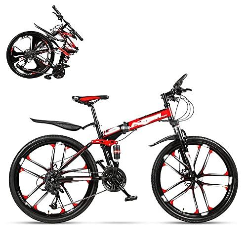 Bicicleta plegable para adultos, carreras todoterreno con impacto hidráulico de 26 pulgadas, horquilla en forma de U con cerradura, doble absorción de impactos, velocidad 21/24/27/30, regalo incluid