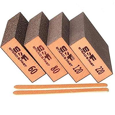 S&F STEAD & FAST Sanding Sponge, 60 80 120 220 Coarse Medium Fine Grit Sanding Blocks, Sander Sponges for Drywall Metal, Sandpaper Sponge Sanding Block for Wood 4 Pcs