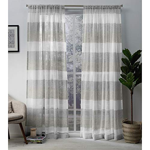 Exclusive Home Curtains Bern Striped Sheer Rod Pocket Panel Pair, 50x96, Dove Grey, 2 Count