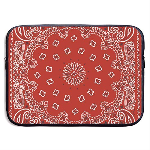 Laptop Case Red Bandana Pattern Laptop Sleeve Protective Case Water-Resistant Neoprene Briefcase 15 Inch