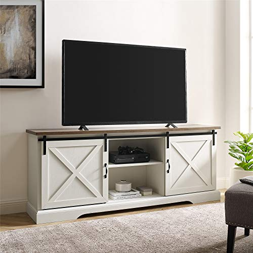 Walker Edison Nathaniel Modern Farmhouse Sliding X Barn Door Stand for TVs up to 80 Inches, Without Fireplace, White