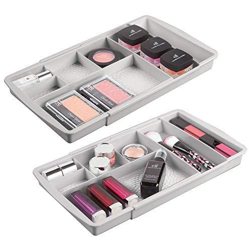 mDesign Juego de 2 organizadores de maquillaje con divisiones – Caja organizadora extensible para el cajón – Organizador de cosméticos, productos de belleza, joyas y artículos de baño pequeños – gris