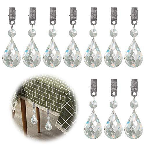 Glarks Tablecloth Weights Set, 10Pcs Metal Clip AB Crystal Glass Teardrop Prisms Pendant Tablecloth Weights for Picnic Tables Tablecloth Weights Heavy Outdoor (Cucurbit)