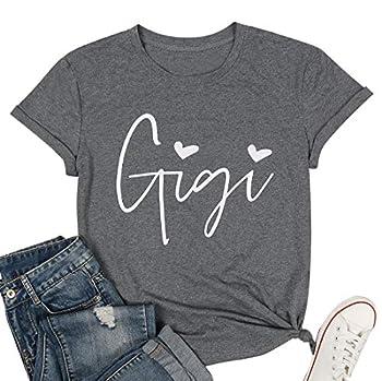 Gigi Shirts for Grandma Women Gigi Heart Graphic Tshirts Tops Letter Printed Short Sleeve Mimi Tees Shirt Dark Grey