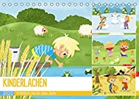 KINDERLACHEN - Froehlich durch das Jahr - Ein Kinderkalender (Tischkalender 2022 DIN A5 quer): Froehliche Kinder erleben die Jahreszeiten in der Natur (Monatskalender, 14 Seiten )