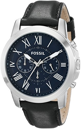 Fossil Men's FS4990 Grant Chronograph Stainless Steel Watch with Black Leather Band