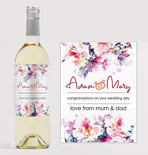 Gepersonaliseerde 'Gefeliciteerd' bruiloft/verjaardag wijnfles label op maat - perfect cadeau idee - elke tekst voor elke gelegenheid of evenement - partij gunst/bruiloft gunst/verjaardagscadeau
