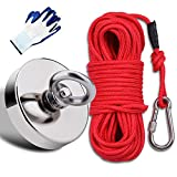 EVISWIY Fishing Magnets Kit Dia. 67mm 2.63' 450LBS with Rope 64FT Carabiner Glove Large Strong Rare Earth Neodymium N52 Magnets for Magnet Fishing Treasure Hunting Underwater Retrieving