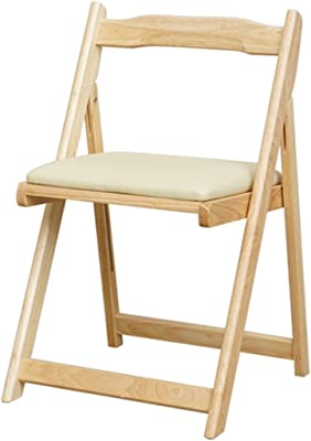 Fold Up Chairs for Inside,Japanese-Style Household Solid Wood Soft Package Folding Chair, Modern Minimalist Kitchen Dining Chair, No Assembly Required, Load Bearing 80kg