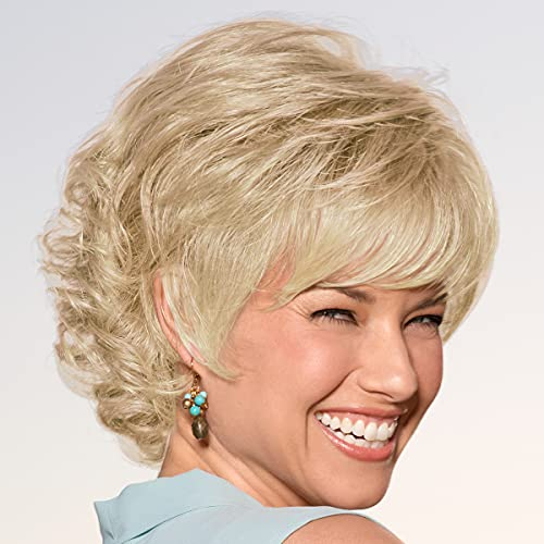 Alex WhisperLite Wig by Paula Young - Sassy Short Wig with Side-Swept Bangs and Tousled Curls / Multi-Tonal Shades of Blonde, Silver, Brown and Red