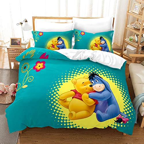 XWXBB Winnie the Pooh Bedding Sets Lightweight Soft Breathable Duvet Cover Kids Gift Cot Bed Cover Cartoon Duvet Cover (Pooh Bear7,King240×220cm)