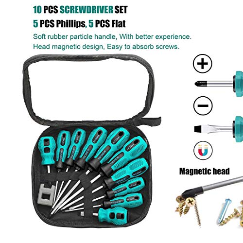 HXSNEW Magnetic Screwdriver Set 10 PCS,5 Phillips and 5 Flat Head Screwdriver Non-Slip for Repair Home Improvement Craft (Green)