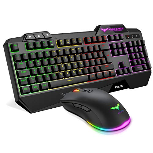 Gaming Keyboard {UK Layout}, HAVIT Rainbow LED Backlit Wired Keyboard and Right-Handed Mouse Combo Set, Black