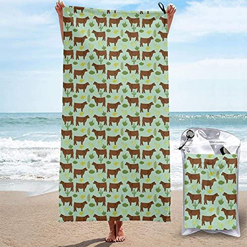 Toalla de playa fina con cinta rosa para el cáncer de mama, toalla de piscina de secado rápido con una bolsa de transporte para acampar, viajes, senderismo, yoga, deportes, 27.5 x 55 pulgadas