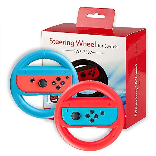 【ニンテンドー専用】QUN FENG?Nintendo Switch Joy-Con ハンドル レースゲーム 専用ハンドル ジョイコン ハンドル マリオカート ハンドル カバー 耐衝撃 2個セット(赤+ブルー)