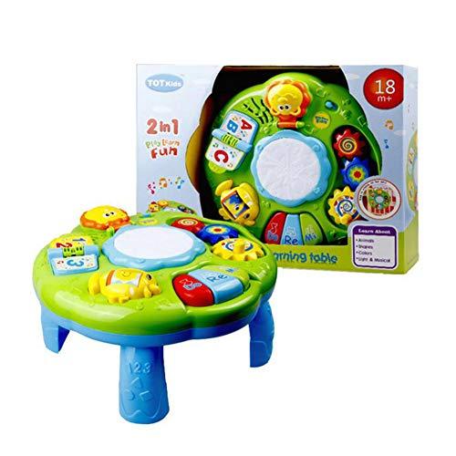 ETbotu Table d'activités d'apprentissage Jouets pour bébé Jouets musicaux éducatifs pour le bureau avec piano Drum Light Up comme montré