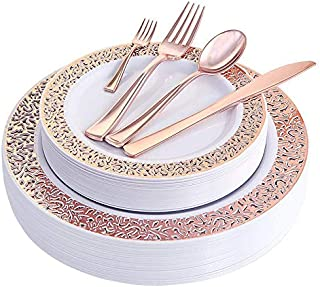 150pcs/set Rose Gold Party Disposable Plastic Cutlery Set, Party Supplies Plate, Spoon, Cutlery