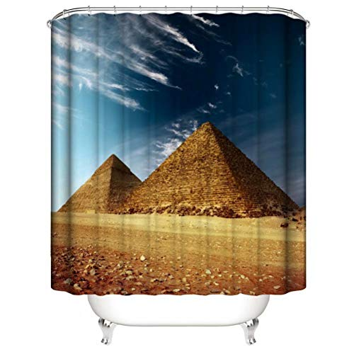 Egyptian Pyramids. Shower Curtain. Bathroom Accessories. Waterproof. Contains 12 Hooks. Shower Curtain Rod Ring Hook. Background. Party. Living Room.