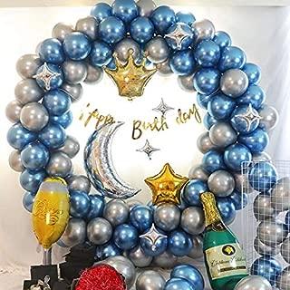 Metallic Blue Silver Balloon Arch Garland Kit,102Pcs, Blue and Silver Metallic Balloons Garland for Baby Shower Wedding Birthday Party Decorations