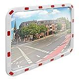 ECD Germany Specchio Stradale Convesso Rettangolare - 60 x 80 cm - in Plastica ABS - Bianco Rosso - Specchietto di Segnalazione Traffico con Riflettori Parabolico Cornice Riflettente Sicurezza Negozio
