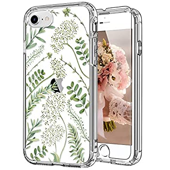 ICEDIO iPhone SE 2020 Case,iPhone 8 Case,iPhone 7 Case with Screen Protector,Clear TPU Cover with Green Leaves Floral Flower Patterns for Girls Women,Protective Phone Case for iPhone 7/8/SE2