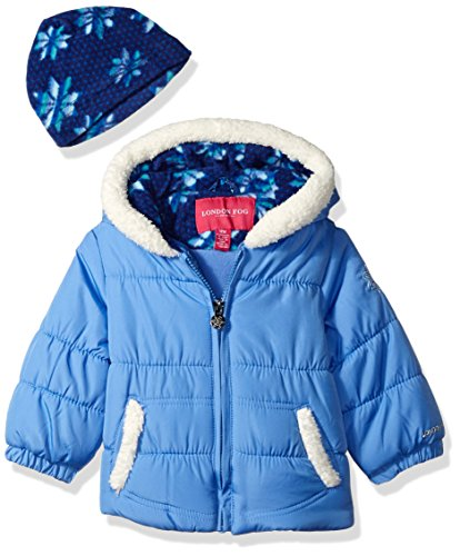 LONDON FOG Baby Girls Puffer Jacket with Scarf, Periwinkle, 12MO