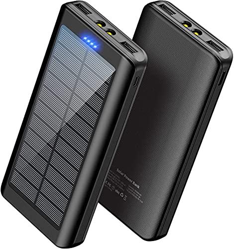 WBPINE - Cargador externo portátil solar de 30000 mAh, doble salida USB con linterna LED para camping, exterior, compatible con teléfono móvil, iPhone, Android, tablets