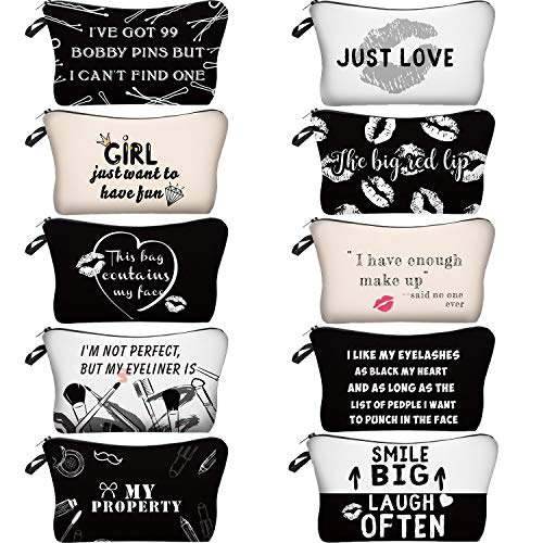 10 Pieces Letters Makeup Bags Cosmetic Pouch Travel Zipper Cosmetic Organizer Toiletry Bag Printing Pencil Bag for Women Girls Supplies Valentine's Day Gift (Black and White Style)