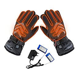 Coil.c electric heated gloves with rechargeable lithium-ion battery for men and women, three-stage thermostat reflective work gloves of electric heating