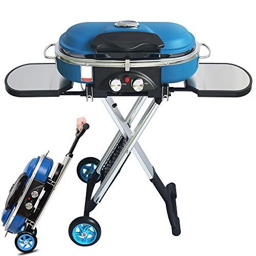 Gasgrill, Profi-Grillstation für BBQ, Räuchern und Grillen, mit Hauptbrennern BBQ Gasgrill Bundle mit extra Fleischthermometer, Farbe: Blau