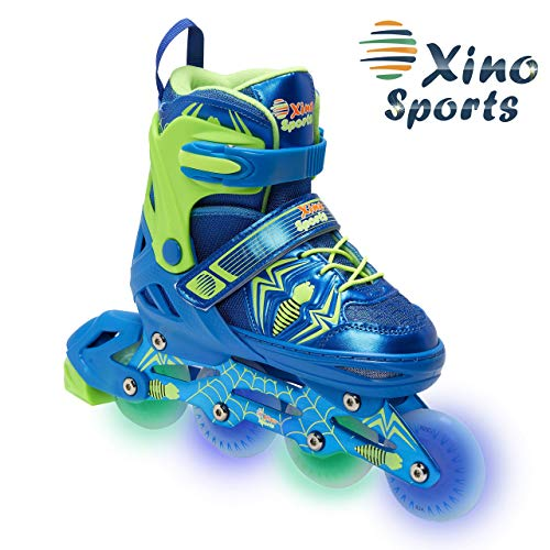 XinoSports Adjustable Inline Skates - for Growing Girls and Boys, Featuring Illuminating LED Wheels, 1 Year Warranty and a Life Time Support (Renewed)