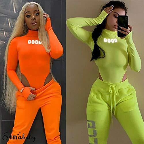 CWJCZY Body de neón de Manga Larga con Cuello Alto Bodycon Sexy de Navidad 2019 Otoño Mujeres Moda Casual Neon Green Slim Fit Body Rompers