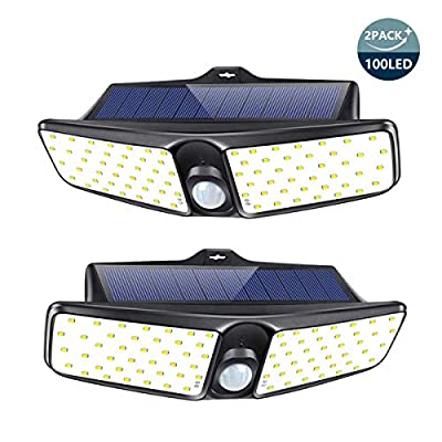 Solar Lights Outdoor, SONATA 100 LED Motion Sensor Security Lights (2 Pack), IP65 Waterproof Solar Powered Lights, Wireless Rechargeable Flood Lights with 270° Wide Angle for Front Door, Yard, Gar