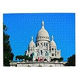Francia Basílica del Sagrado Corazón de París Rompecabezas para Adultos, 500 Piezas de Madera, Regalo de Viaje, Recuerdo, 20.4 x 15 Pulgadas