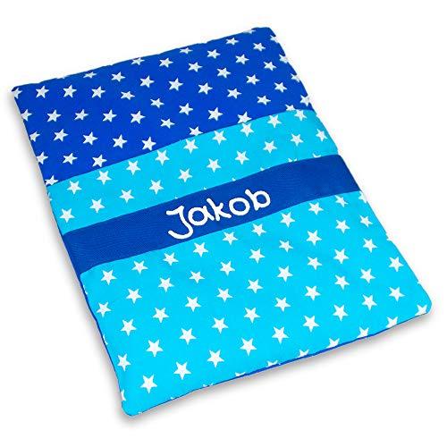 Mein-Name Wärmekissen Sterne blau mit Namen, Rapssamen 19x22cm