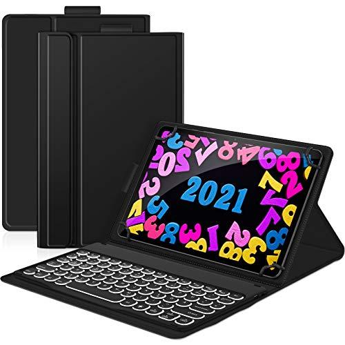 Sross, tastiera illuminata per tutti i tablet da 9 a 11 pollici, Bluetooth ricaricabile, tastiera wireless QWERTZ con custodia protettiva per tablet Android/Windows iPad, nero