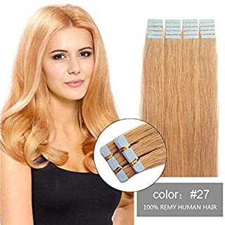 SHOWJARLLY Tape In Hair Extensions (16inch-30g, 27 Strawberry Blonde)