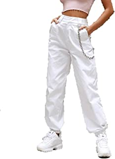 Women High Waist Hip Hop Dance Tapered Cargo Jogger Pants Trousers Harem Baggy Jogging Sweatpants