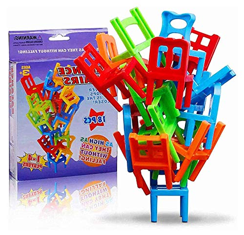 DDUUOO 2021 Stühle Stacking Tower Balancing Game, 36 Stück Kinder Stack Up Stühle Spielzeug, Pile-up Suspend Chair Jenga - Lernspiel Zur Kinderentwicklung Für Koordination & Balanc