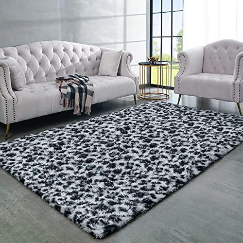 LOCHAS Luxury Fluffy Leopard Area Rug Modern Shag Carpet, Soft Fuzzy Leopard Print Rugs for Bedroom Living Room Kids Western Home Decor, Comfy Indoor Carpets, 4x5.9 Feet Black / White