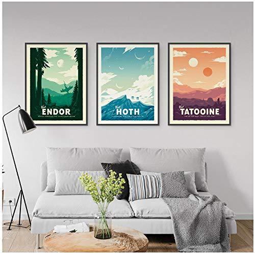 HDKSA Carteles e impresiones vintage Star Wars Retro Travel Minimalista Art Canvas Picture Print Regalo moderno Home Room Wall Decor-50X70CMx3 sin marco