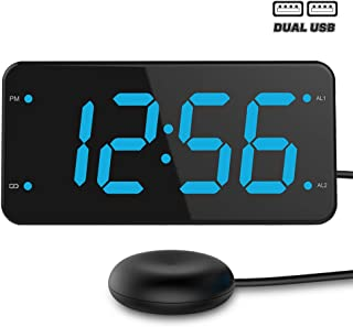 Bed Shaker Loud Alarm Clock for Heavy Sleepers, Deaf & Hearing Impaired, Dual Alarm Digital Clock with 2 USB Charger, 7-Inch Display, Full Range Dimmer – Ocean Blue