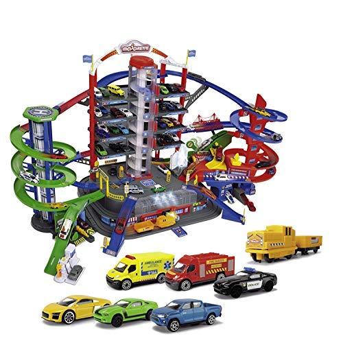 Majorette Super City Garage, motorisierte Bahn für Modellautos mit Parkplätzen und Eisenbahn, Parkhaus für Die-cast Autos, Spielzeug als Geschenk für Jungen und Mädchen, ab 5 Jahren, mehrfarbig
