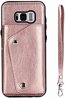 Samsung Galaxy S8 Plus Case, Wallet Case with Card Slot Holder Handbag Purse Wrist Strap Premium Leather Kickstand Shockproof Protective Cover for Samsung Galaxy S8 Plus,Rose Gold