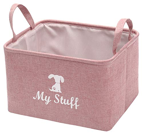 Morezi Canvas Pet Toy and Accessory Storage Bin, Basket Chest Organizer - Perfect for Organizing Pet Toys, Blankets, Leashes and Food - Dog - Pink - L