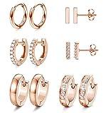 JOERICA 6 Pairs Hoop Huggie Earrings for Women Girls Minimalist Cuff Mini Bar Stud Earrings Gold Silver Cubic Zirconia Small Ear Piercing Set (Rose-Gold)