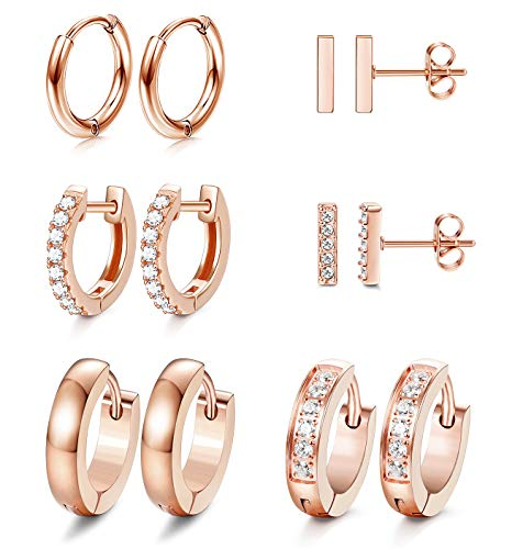 JOERICA 6 Pairs Hoop Huggie Earrings for Women Girls Minimalist Cuff Mini Bar Stud Earrings Gold Silver Cubic Zirconia Small Ear Piercing Set (Rose-Gold)