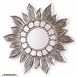 Silver Sunflower Wall Mirror 23.6in, Decorative Hand-carved wood Round Mirror - Peruvian Sunburst Mirrors for wall Decor, Inca Sunflower'